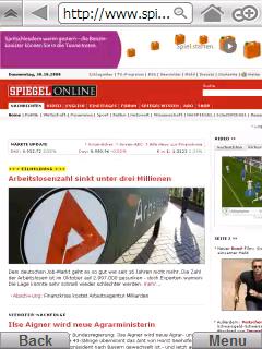 Spiegel Online in Skyfire (Übersichtsmodus)
